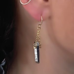 Moodtherapy Jewelry - 14KYGF Crystal Quartz Point Earrings
